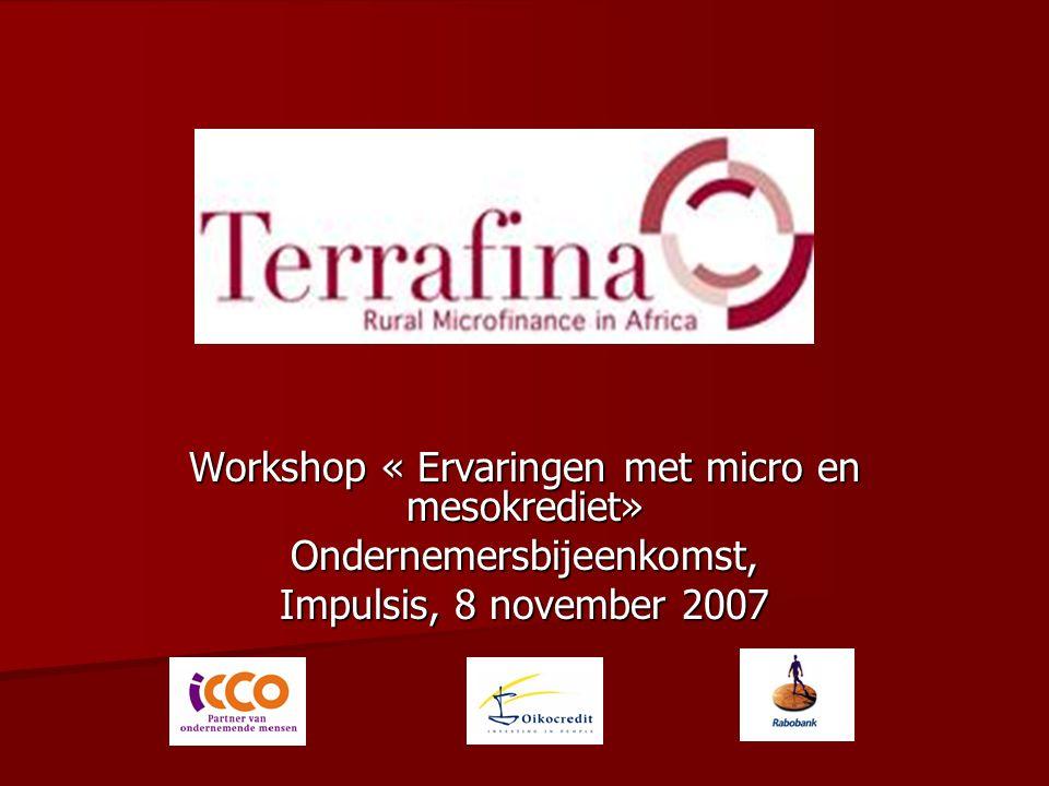 Workshop « Ervaringen met micro en mesokrediet» Ondernemersbijeenkomst, Impulsis, 8 november 2007