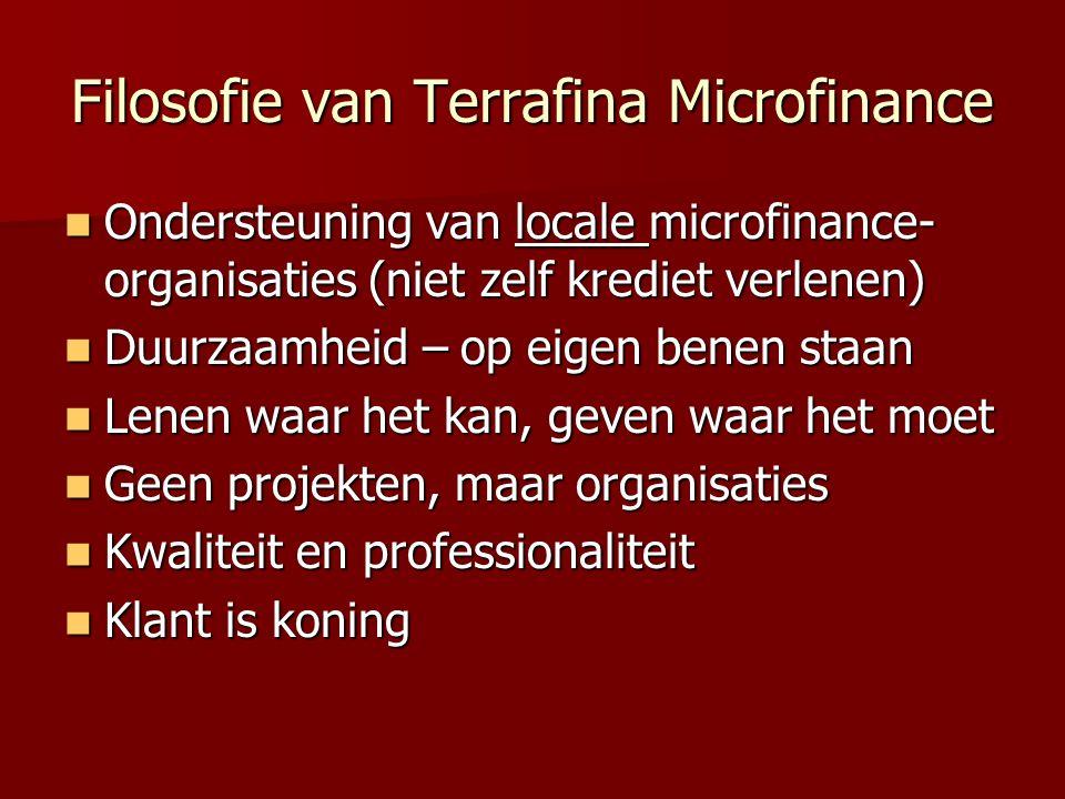 Filosofie van Terrafina Microfinance Ondersteuning van locale microfinance- organisaties (niet zelf krediet verlenen) Ondersteuning van locale microfinance- organisaties (niet zelf krediet verlenen) Duurzaamheid – op eigen benen staan Duurzaamheid – op eigen benen staan Lenen waar het kan, geven waar het moet Lenen waar het kan, geven waar het moet Geen projekten, maar organisaties Geen projekten, maar organisaties Kwaliteit en professionaliteit Kwaliteit en professionaliteit Klant is koning Klant is koning