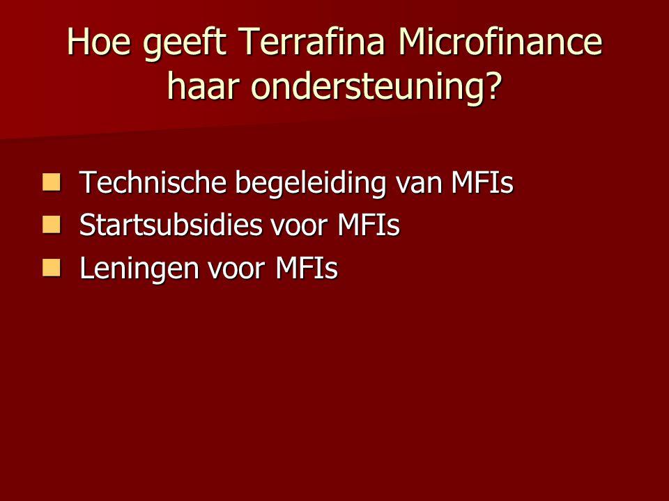 Hoe geeft Terrafina Microfinance haar ondersteuning.