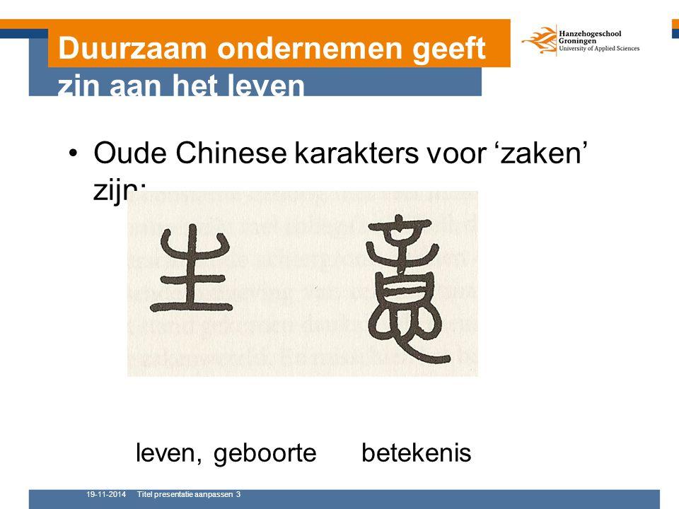 Duurzaam ondernemen geeft zin aan het leven Oude Chinese karakters voor 'zaken' zijn: leven, geboorte betekenis 19-11-2014Titel presentatie aanpassen 3
