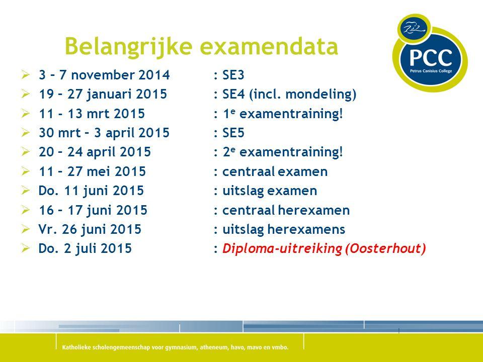 Belangrijke examendata  3 – 7 november 2014: SE3  19 – 27 januari 2015 : SE4 (incl. mondeling)  11 - 13 mrt 2015: 1 e examentraining!  30 mrt – 3