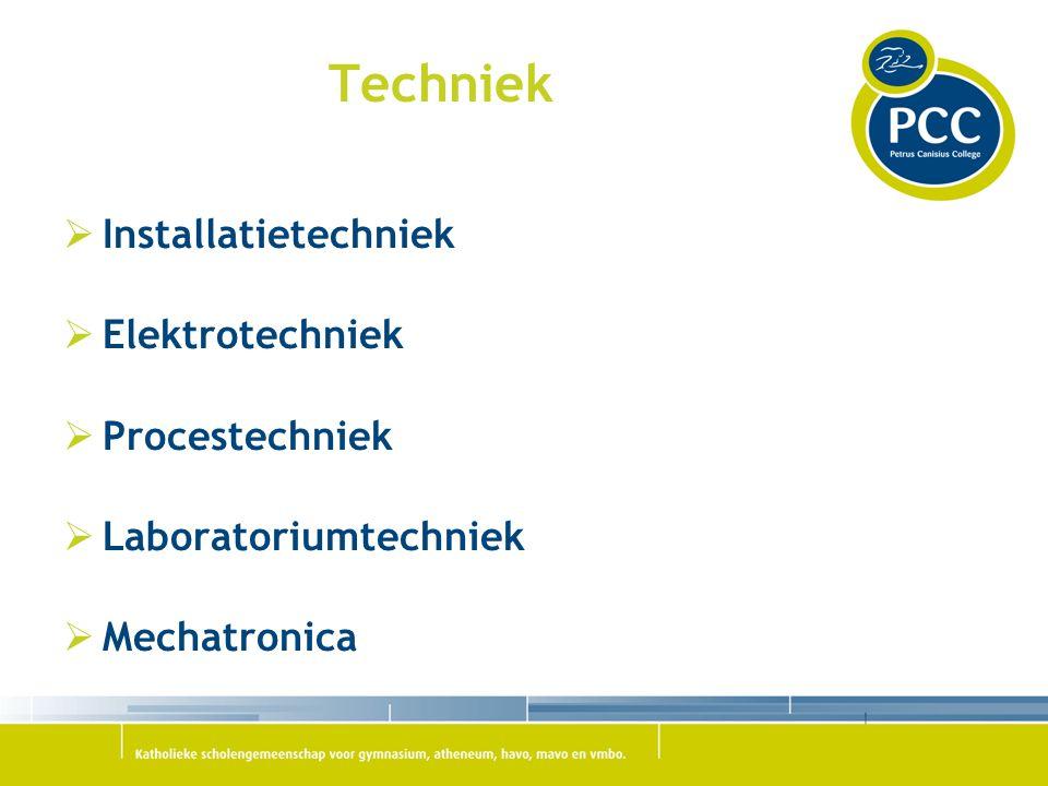  Installatietechniek  Elektrotechniek  Procestechniek  Laboratoriumtechniek  Mechatronica