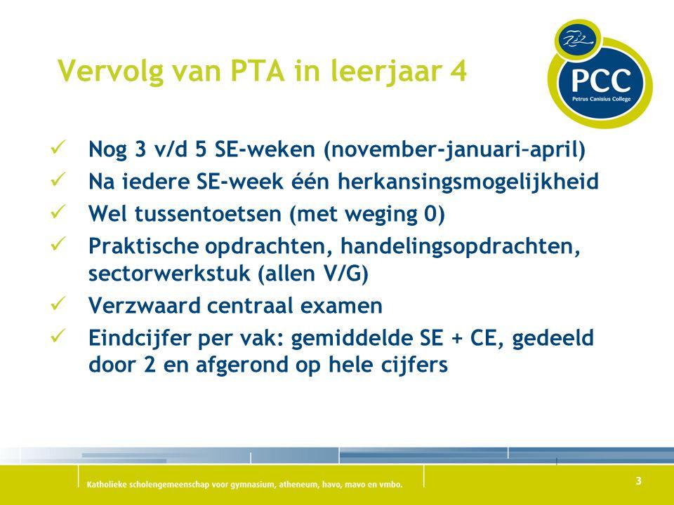 3 Vervolg van PTA in leerjaar 4 Nog 3 v/d 5 SE-weken (november-januari–april) Na iedere SE-week één herkansingsmogelijkheid Wel tussentoetsen (met weg