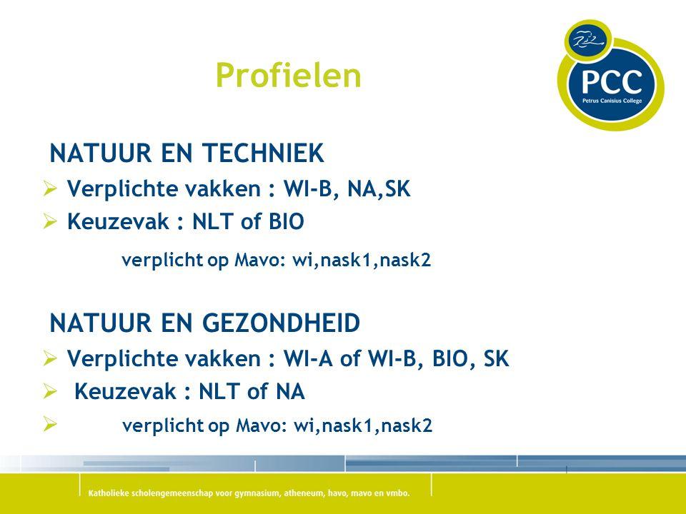 Profielen NATUUR EN TECHNIEK  Verplichte vakken : WI-B, NA,SK  Keuzevak : NLT of BIO verplicht op Mavo: wi,nask1,nask2 NATUUR EN GEZONDHEID  Verpli