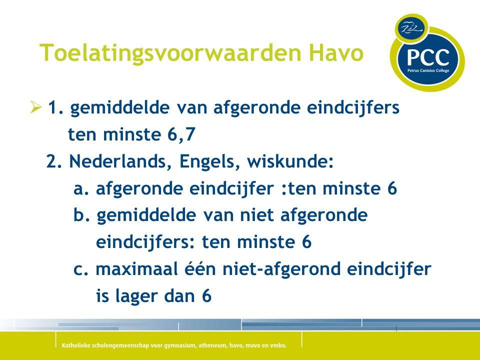 Toelatingsvoorwaarden Havo  1. gemiddelde van afgeronde eindcijfers ten minste 6,7 2. Nederlands, Engels, wiskunde: a. afgeronde eindcijfer :ten mins