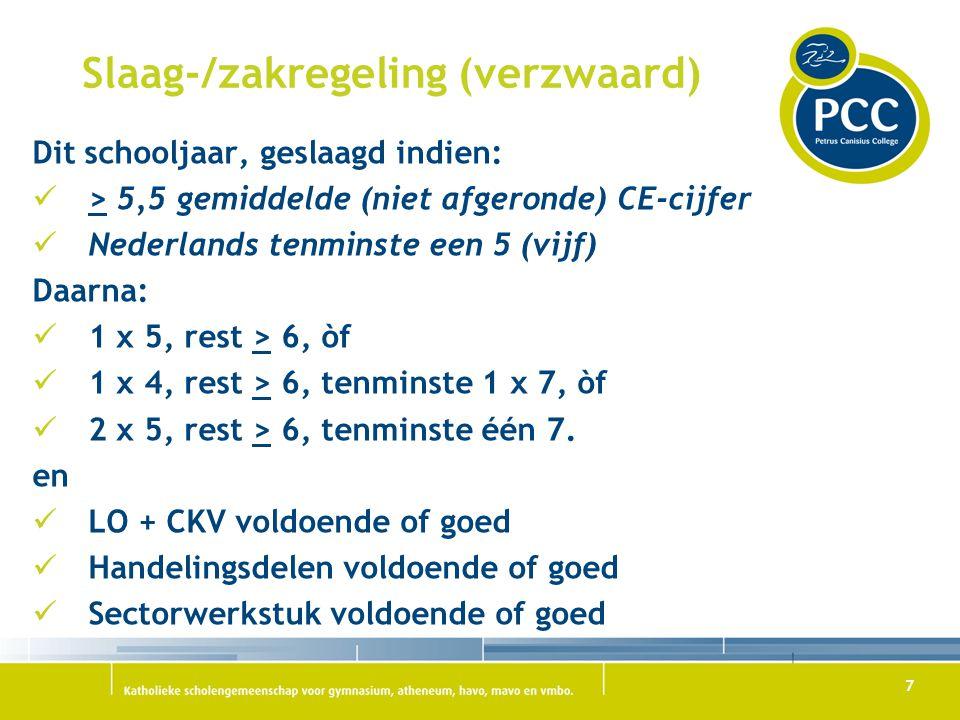 7 Slaag-/zakregeling (verzwaard) Dit schooljaar, geslaagd indien: > 5,5 gemiddelde (niet afgeronde) CE-cijfer Nederlands tenminste een 5 (vijf) Daarna