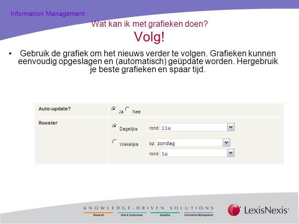 Total Practice Solutions Information Management Wat kan ik met grafieken doen? Volg! Gebruik de grafiek om het nieuws verder te volgen. Grafieken kunn