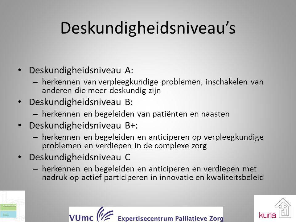 Deskundigheidsniveau's Deskundigheidsniveau A: – herkennen van verpleegkundige problemen, inschakelen van anderen die meer deskundig zijn Deskundighei