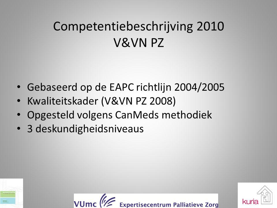 Competentiebeschrijving 2010 V&VN PZ Gebaseerd op de EAPC richtlijn 2004/2005 Kwaliteitskader (V&VN PZ 2008) Opgesteld volgens CanMeds methodiek 3 des