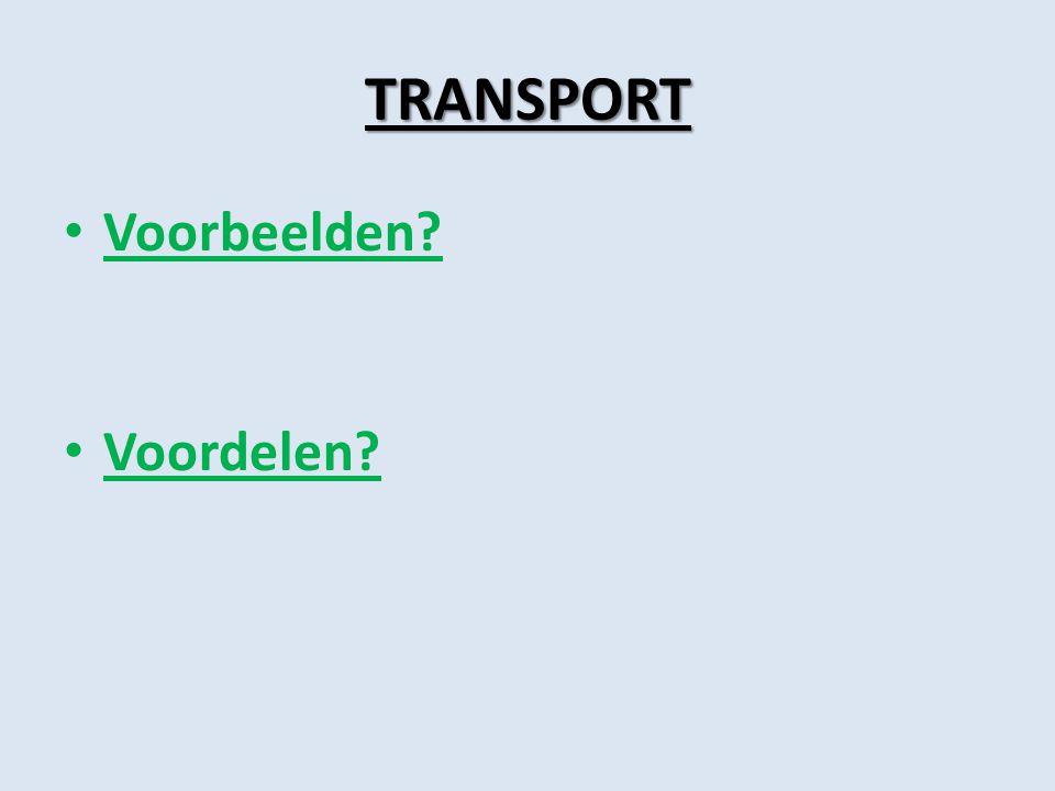 TRANSPORT Voorbeelden? Voordelen?