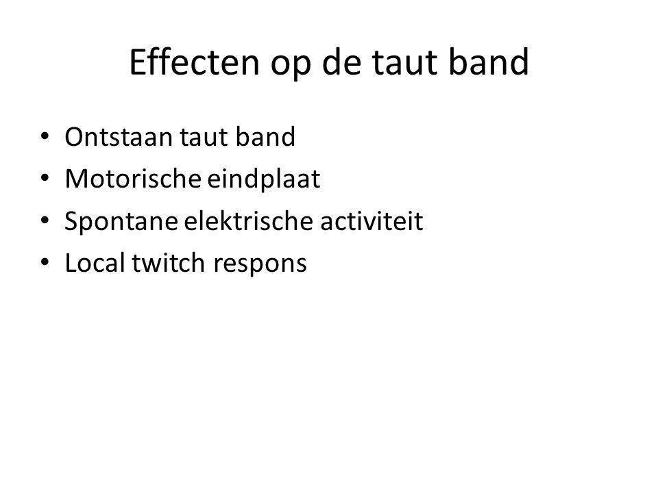 Effecten op de taut band Ontstaan taut band Motorische eindplaat Spontane elektrische activiteit Local twitch respons