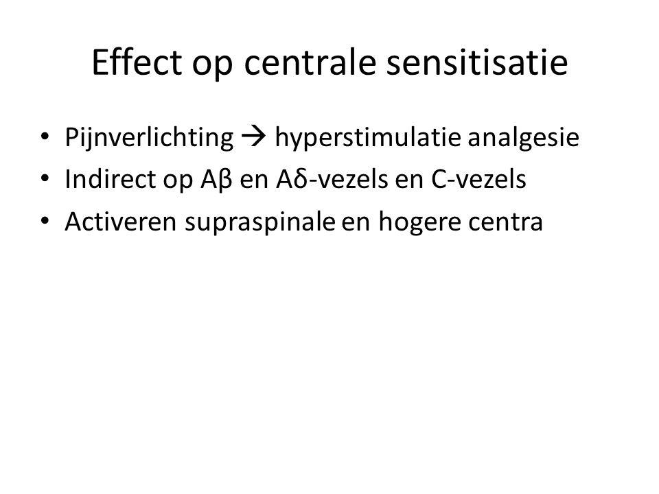 Effect op centrale sensitisatie Pijnverlichting  hyperstimulatie analgesie Indirect op Aβ en Aδ-vezels en C-vezels Activeren supraspinale en hogere c