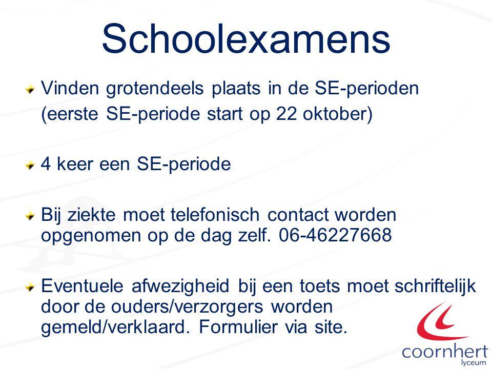 Schoolexamens Vinden grotendeels plaats in de SE-perioden (eerste SE-periode start op 22 oktober) 4 keer een SE-periode Bij ziekte moet telefonisch contact worden opgenomen op de dag zelf.