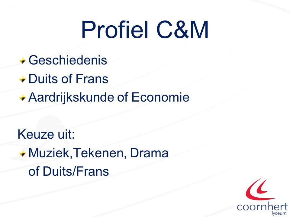 Profiel C&M Geschiedenis Duits of Frans Aardrijkskunde of Economie Keuze uit: Muziek,Tekenen, Drama of Duits/Frans