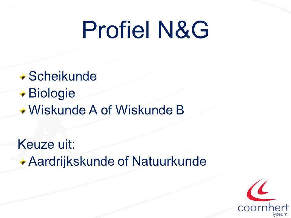 Profiel N&G Scheikunde Biologie Wiskunde A of Wiskunde B Keuze uit: Aardrijkskunde of Natuurkunde