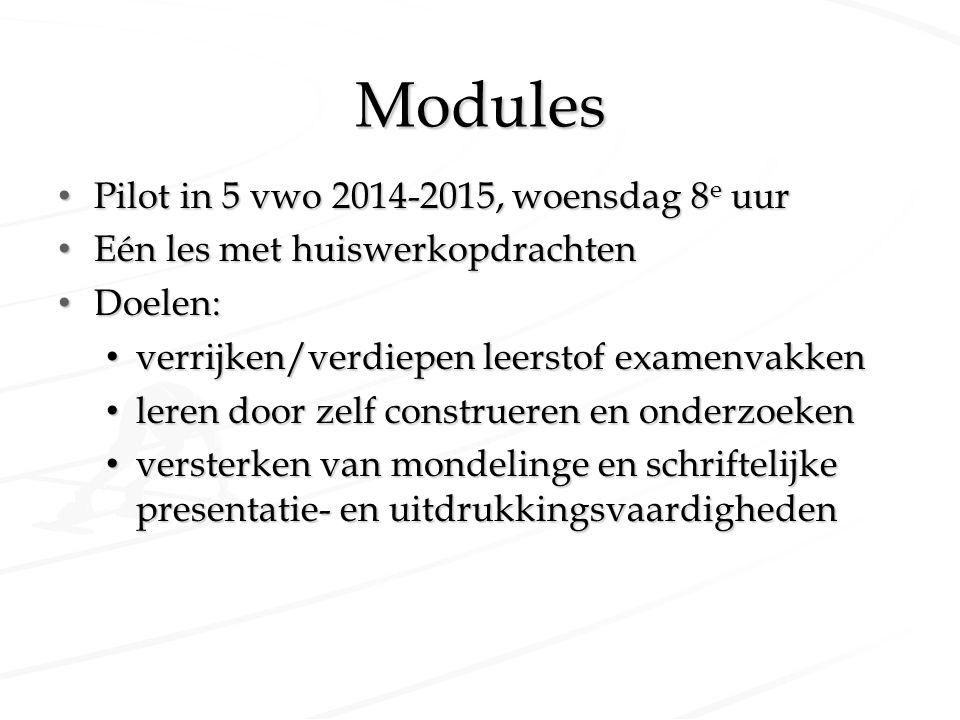 Modules Pilot in 5 vwo 2014-2015, woensdag 8 e uur Pilot in 5 vwo 2014-2015, woensdag 8 e uur Eén les met huiswerkopdrachten Eén les met huiswerkopdra