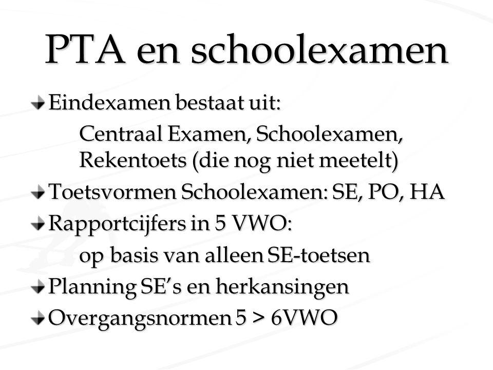 PTA en schoolexamen Eindexamen bestaat uit: Centraal Examen, Schoolexamen, Rekentoets (die nog niet meetelt) Toetsvormen Schoolexamen: SE, PO, HA Rapp