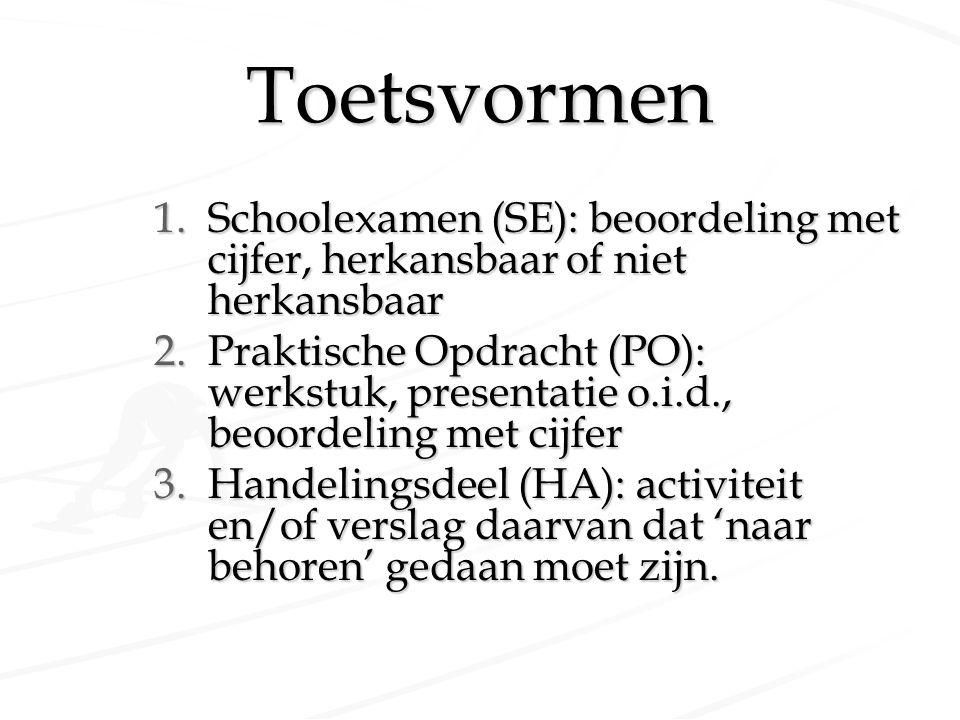 Toetsvormen 1.Schoolexamen (SE): beoordeling met cijfer, herkansbaar of niet herkansbaar 2.Praktische Opdracht (PO): werkstuk, presentatie o.i.d., beo