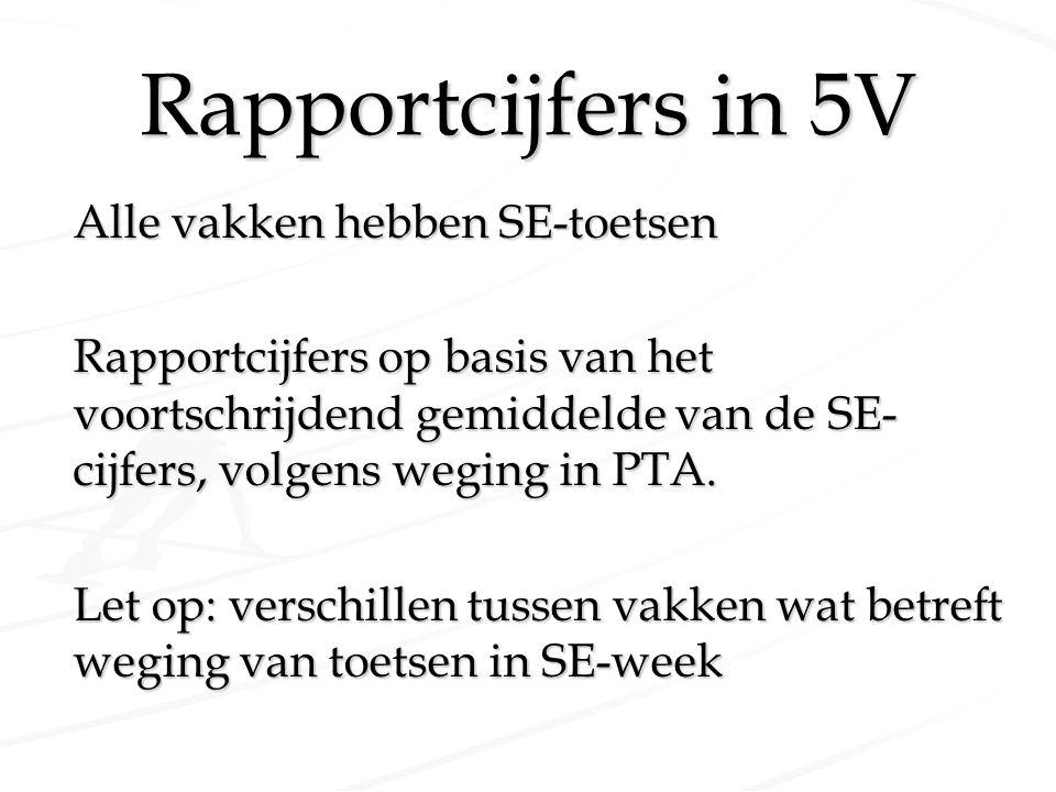Rapportcijfers in 5V Alle vakken hebben SE-toetsen Rapportcijfers op basis van het voortschrijdend gemiddelde van de SE- cijfers, volgens weging in PT