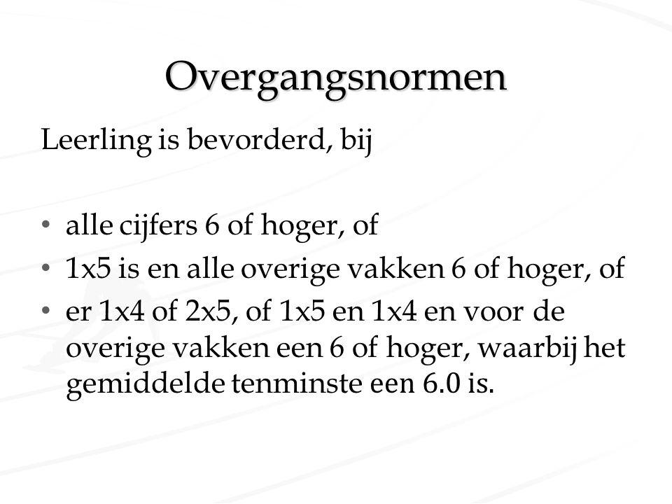 Overgangsnormen Leerling is bevorderd, bij alle cijfers 6 of hoger, of 1x5 is en alle overige vakken 6 of hoger, of er 1x4 of 2x5, of 1x5 en 1x4 en vo
