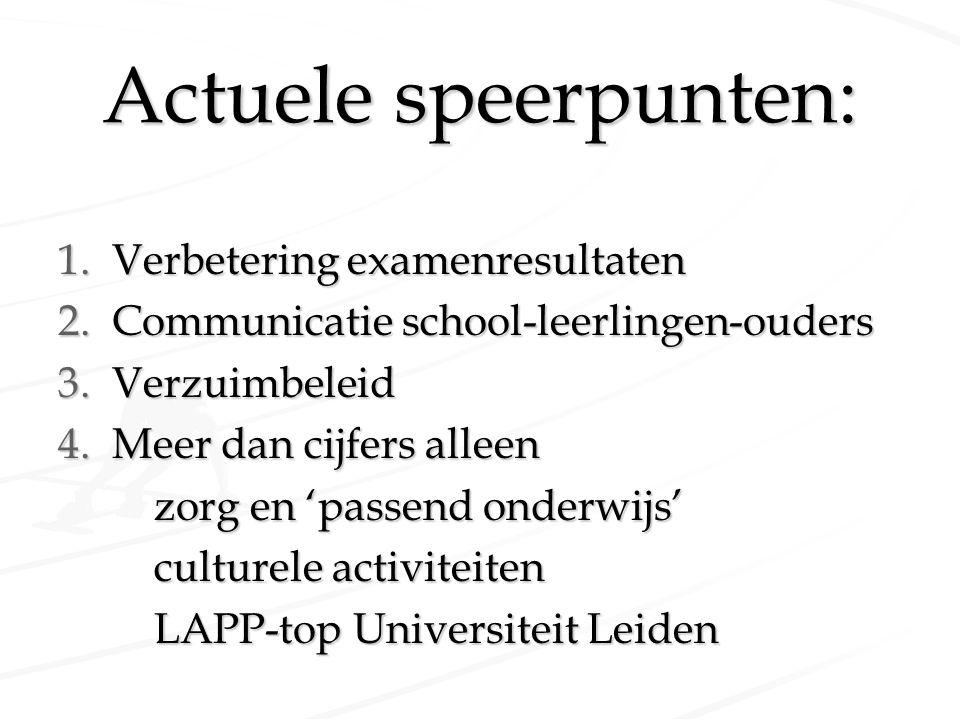 Actuele speerpunten: 1.Verbetering examenresultaten 2.Communicatie school-leerlingen-ouders 3.Verzuimbeleid 4.Meer dan cijfers alleen zorg en 'passend