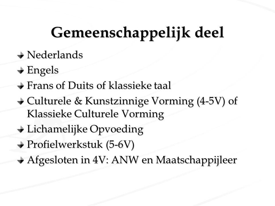 Gemeenschappelijk deel NederlandsEngels Frans of Duits of klassieke taal Culturele & Kunstzinnige Vorming (4-5V) of Klassieke Culturele Vorming Licham