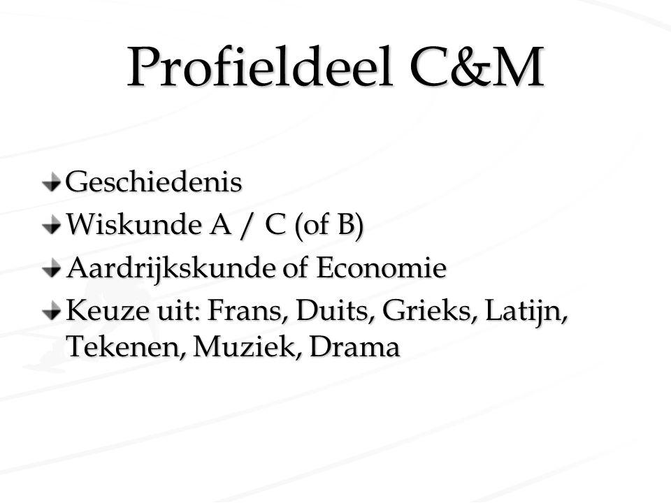 Profieldeel C&M Geschiedenis Wiskunde A / C (of B) Aardrijkskunde of Economie Keuze uit: Frans, Duits, Grieks, Latijn, Tekenen, Muziek, Drama