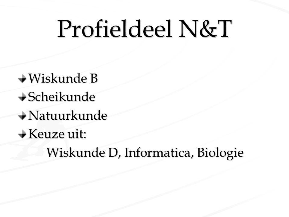 Profieldeel N&T Wiskunde B ScheikundeNatuurkunde Keuze uit: Wiskunde D, Informatica, Biologie