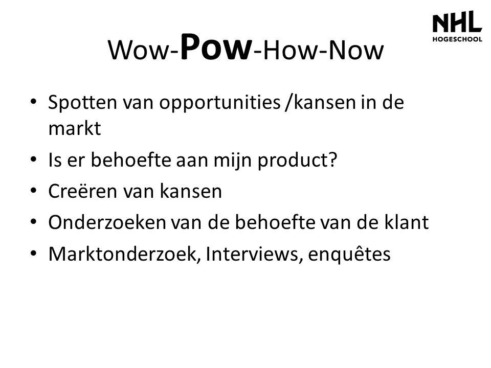 Wow- Pow -How-Now Spotten van opportunities /kansen in de markt Is er behoefte aan mijn product? Creëren van kansen Onderzoeken van de behoefte van de