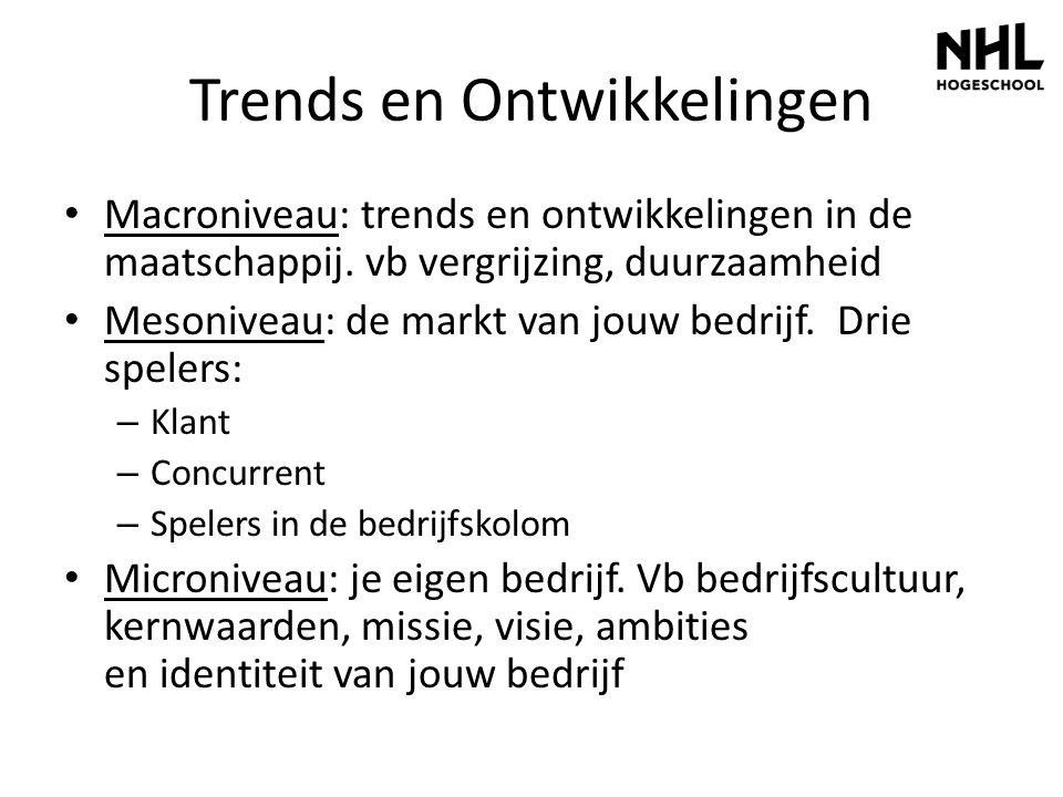 Trends en Ontwikkelingen Macroniveau: trends en ontwikkelingen in de maatschappij. vb vergrijzing, duurzaamheid Mesoniveau: de markt van jouw bedrijf.