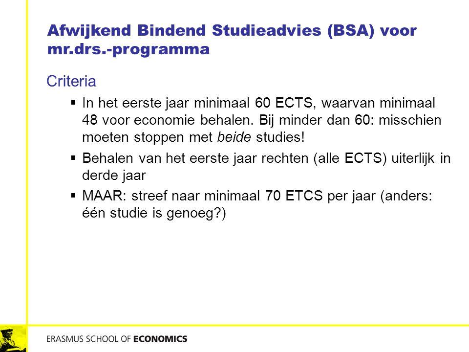 Criteria  In het eerste jaar minimaal 60 ECTS, waarvan minimaal 48 voor economie behalen. Bij minder dan 60: misschien moeten stoppen met beide studi