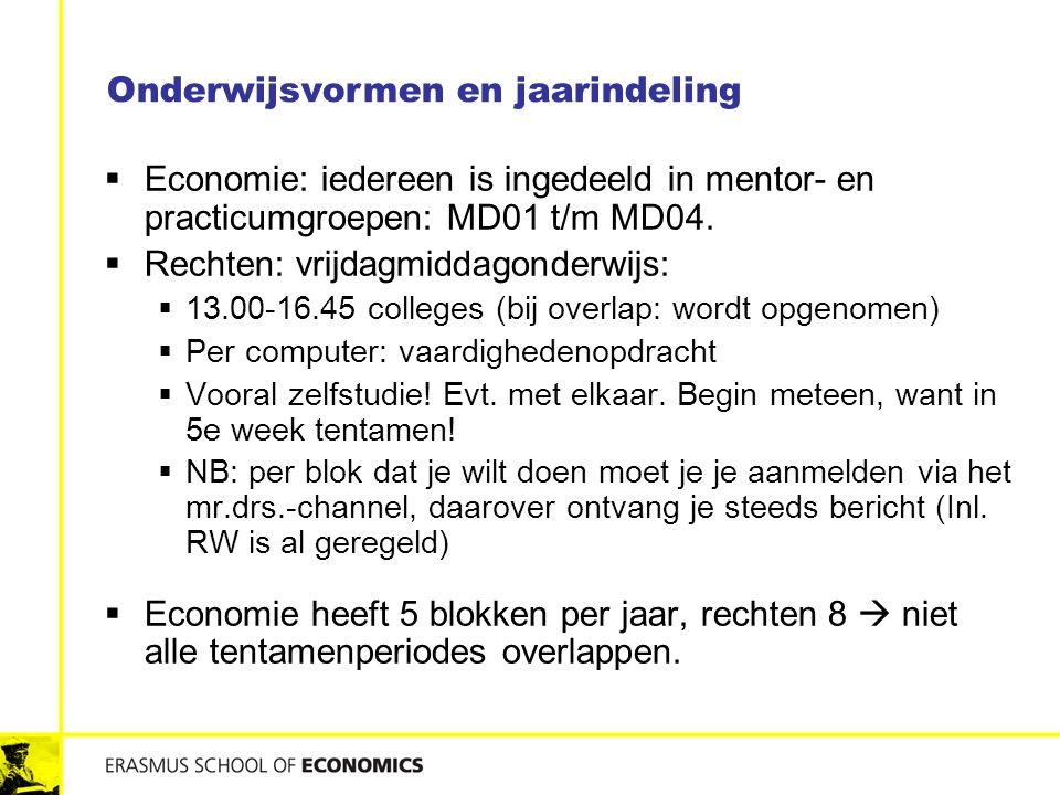  Economie: iedereen is ingedeeld in mentor- en practicumgroepen: MD01 t/m MD04.  Rechten: vrijdagmiddagonderwijs:  13.00-16.45 colleges (bij overla