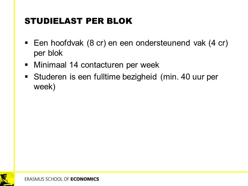 STUDIELAST PER BLOK  Een hoofdvak (8 cr) en een ondersteunend vak (4 cr) per blok  Minimaal 14 contacturen per week  Studeren is een fulltime bezig