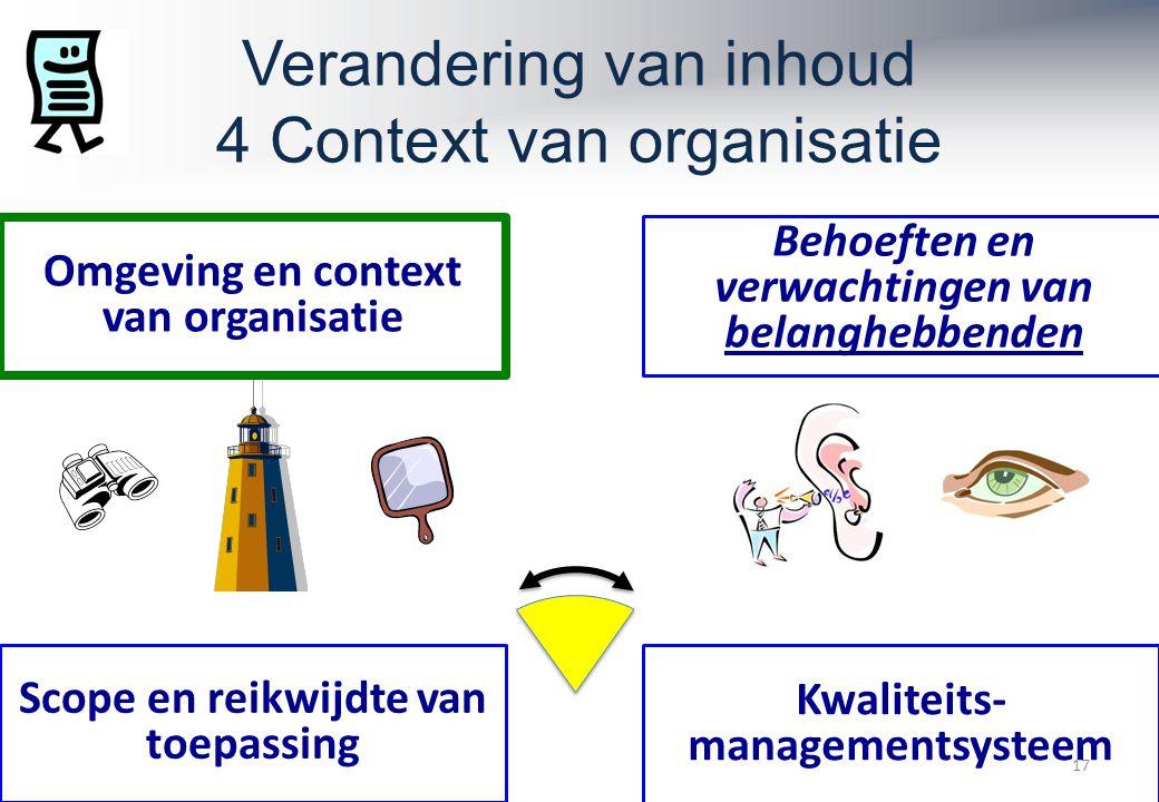 Verandering van inhoud 4 Context van organisatie 17 Omgeving en context van organisatie Scope en reikwijdte van toepassing Behoeften en verwachtingen van belanghebbenden Kwaliteits- managementsysteem