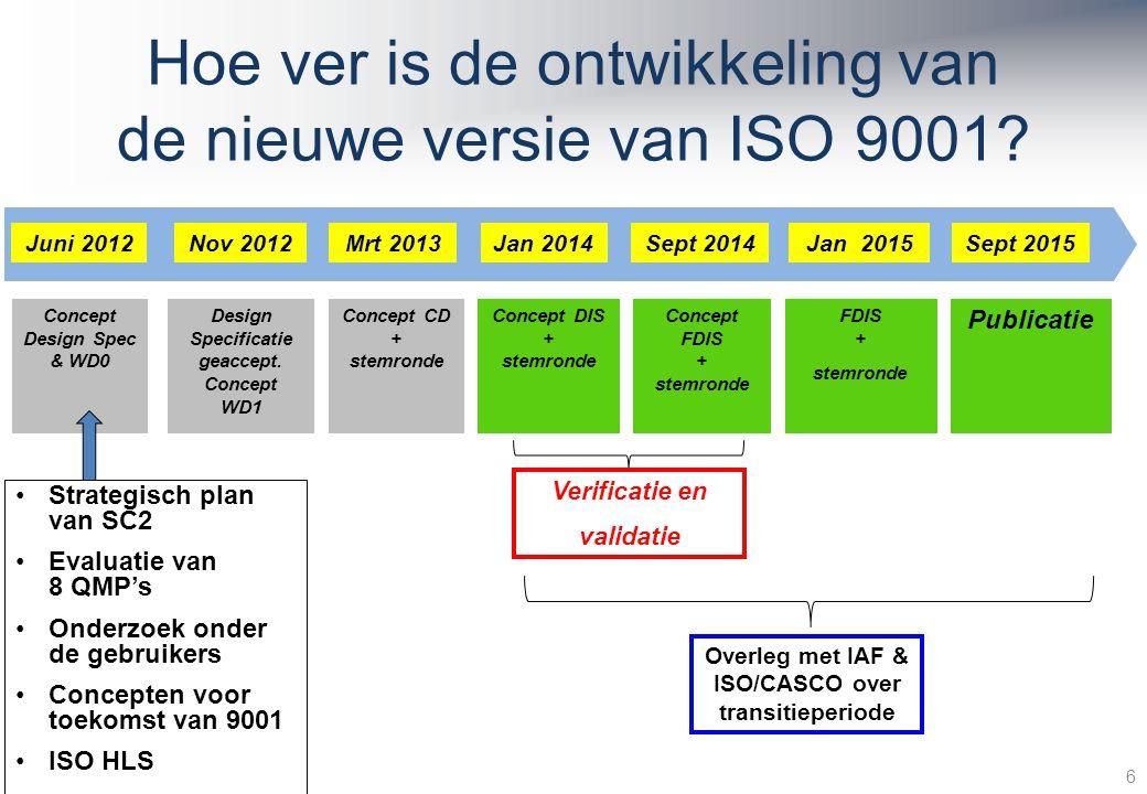 Hoe ver is de ontwikkeling van de nieuwe versie van ISO 9001.
