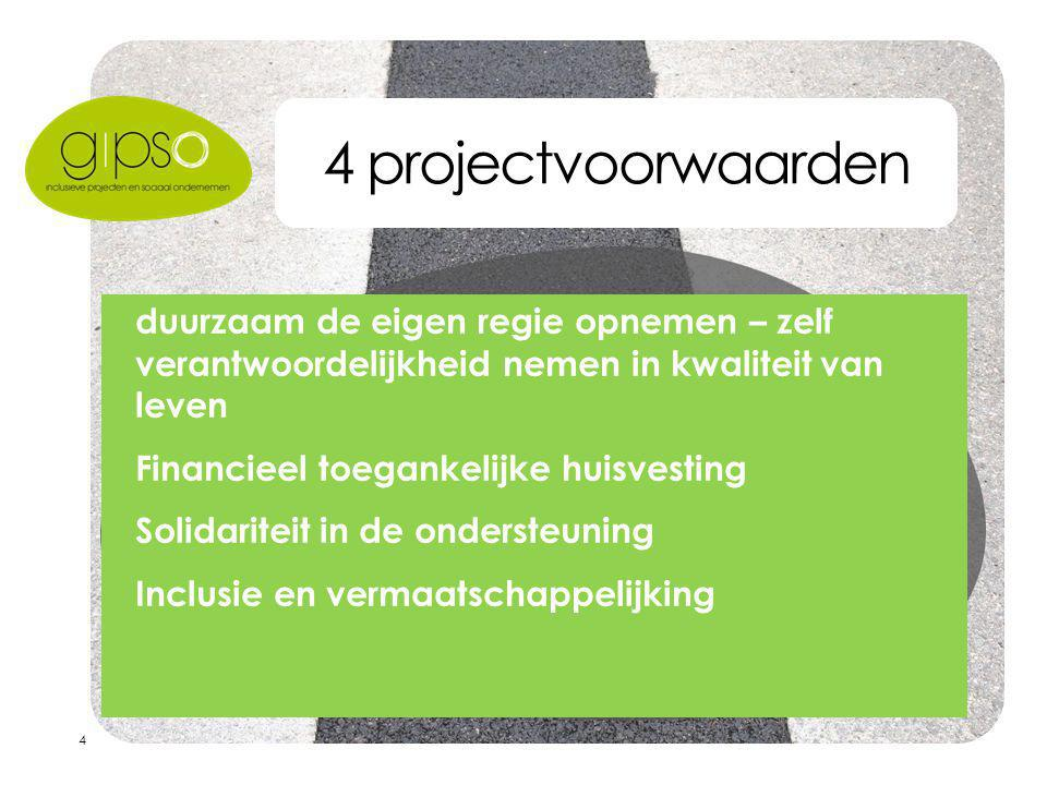 4 4 projectvoorwaarden  duurzaam de eigen regie opnemen – zelf verantwoordelijkheid nemen in kwaliteit van leven  Financieel toegankelijke huisvesting  Solidariteit in de ondersteuning  Inclusie en vermaatschappelijking