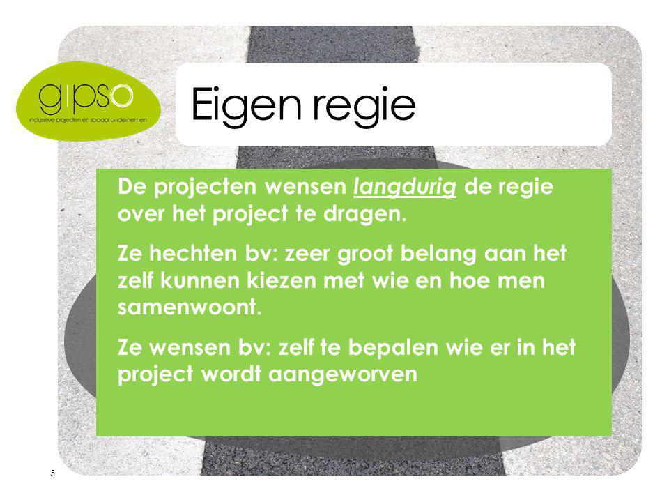 5 Eigen regie  De projecten wensen langdurig de regie over het project te dragen.  Ze hechten bv: zeer groot belang aan het zelf kunnen kiezen met w