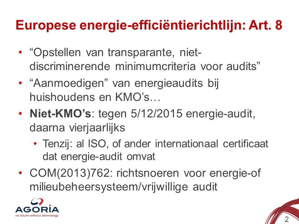 """Europese energie-efficiëntierichtlijn: Art. 8 """"Opstellen van transparante, niet- discriminerende minimumcriteria voor audits"""" """"Aanmoedigen"""" van energi"""