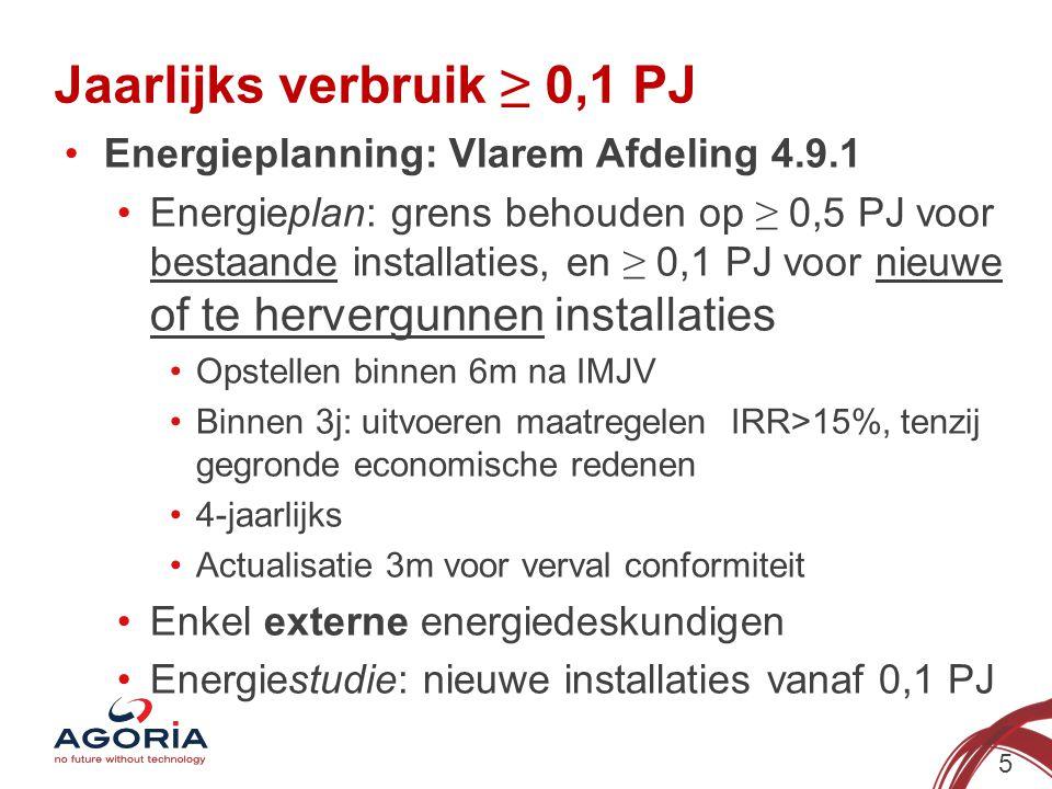 Jaarlijks verbruik ≥ 0,1 PJ (2) 6 OF…Energiebeleidsovereenkomsten: Toetreding 5/2014, inwerkingtreding1/2015 4-j energieaudit, jaarlijkse monitoring ≈ voordelen convenanten: Accijnsverlaging- en of vrijstelling (!) Degressiviteit federale bijdrage, offshore toeslag Vrijstelling onroerende voorheffing Recht op EP+ en strategische transformatiesteun Geen bijkomende maatregelen gericht op verdere energie-efficiëntie of CO2-reductie