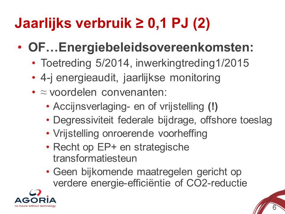 Jaarlijks verbruik ≥ 0,1 PJ (2) 6 OF…Energiebeleidsovereenkomsten: Toetreding 5/2014, inwerkingtreding1/2015 4-j energieaudit, jaarlijkse monitoring ≈