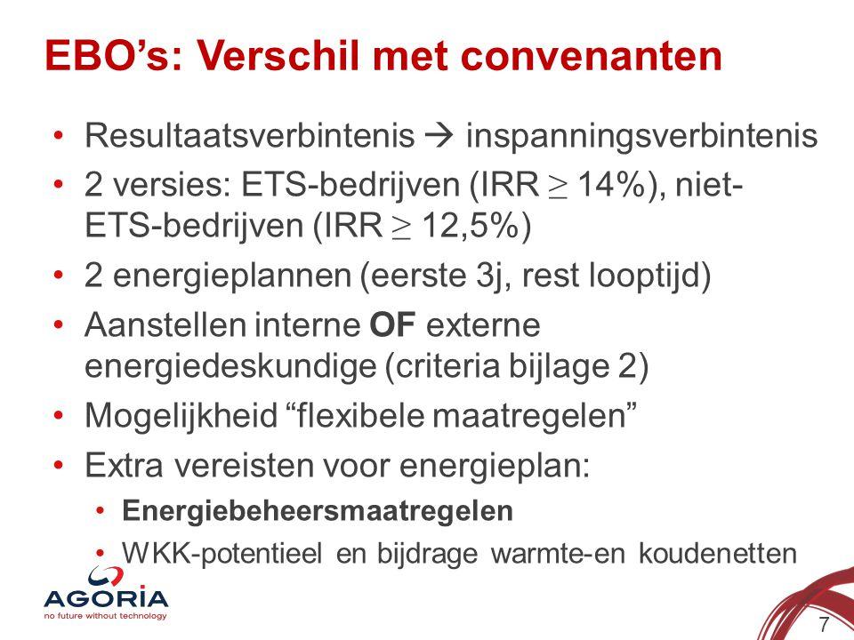 EBO's: Verschil met convenanten 7 Resultaatsverbintenis  inspanningsverbintenis 2 versies: ETS-bedrijven (IRR ≥ 14%), niet- ETS-bedrijven (IRR ≥ 12,5
