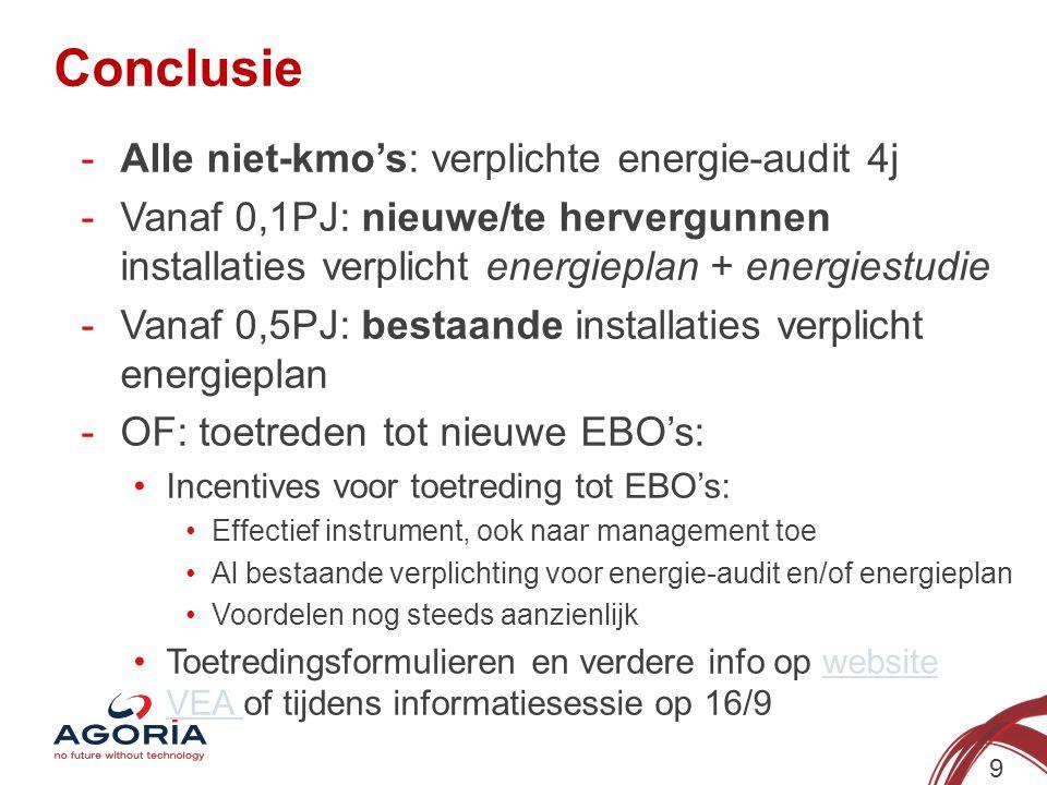 Conclusie 9 -Alle niet-kmo's: verplichte energie-audit 4j -Vanaf 0,1PJ: nieuwe/te hervergunnen installaties verplicht energieplan + energiestudie -Van