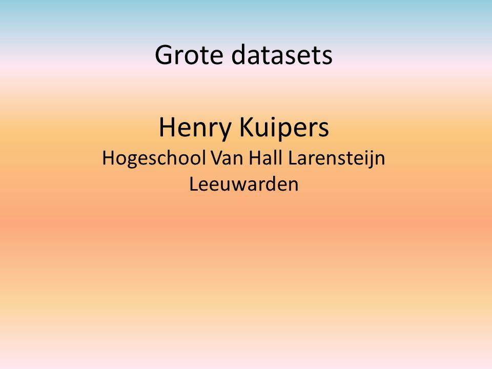 Opbouw presentaties Voorbeelden grote datasets Visualiseren van de relaties tussen de variabelen d.m.v.