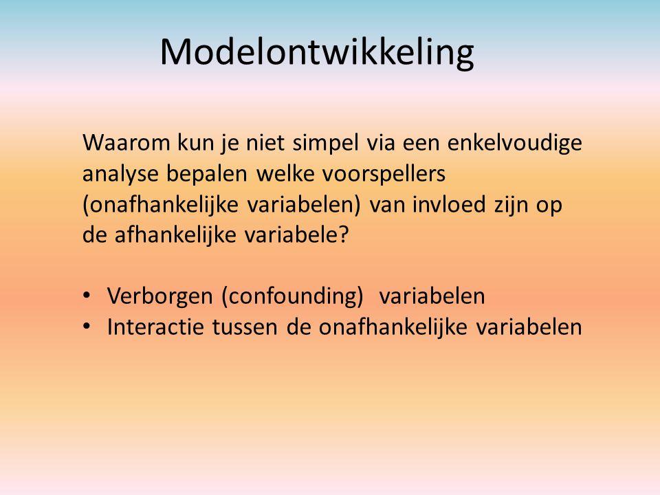 Modelontwikkeling Waarom kun je niet simpel via een enkelvoudige analyse bepalen welke voorspellers (onafhankelijke variabelen) van invloed zijn op de