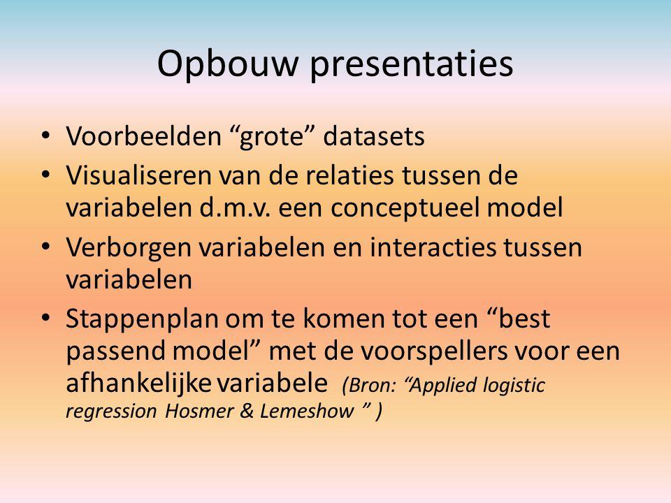 """Opbouw presentaties Voorbeelden """"grote"""" datasets Visualiseren van de relaties tussen de variabelen d.m.v. een conceptueel model Verborgen variabelen e"""