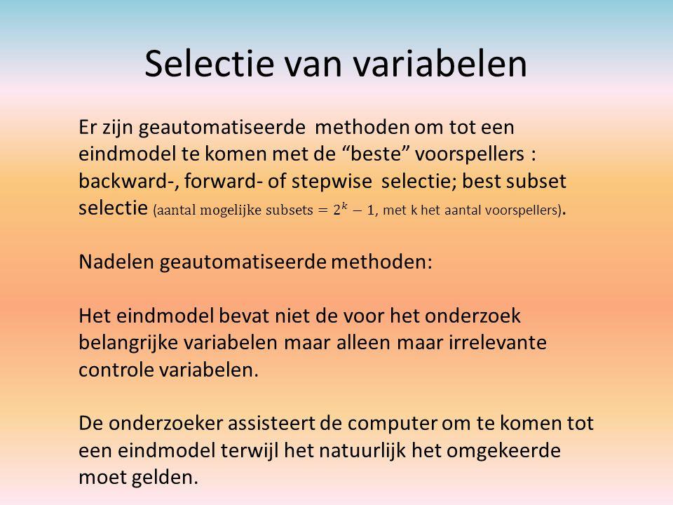 Selectie van variabelen