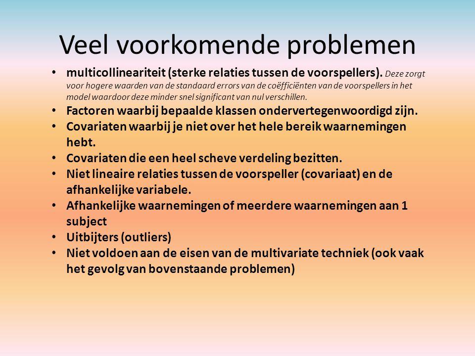 Veel voorkomende problemen multicollineariteit (sterke relaties tussen de voorspellers). Deze zorgt voor hogere waarden van de standaard errors van de