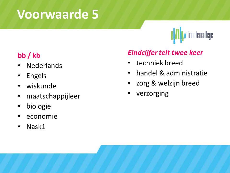 Voorwaarde 5 bb / kb Nederlands Engels wiskunde maatschappijleer biologie economie Nask1 Eindcijfer telt twee keer techniek breed handel & administrat