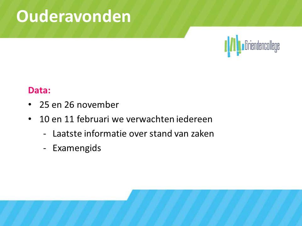 Ouderavonden Data: 25 en 26 november 10 en 11 februari we verwachten iedereen -Laatste informatie over stand van zaken -Examengids