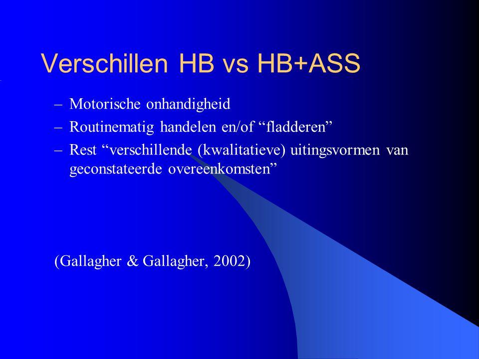 """Verschillen HB vs HB+ASS –Motorische onhandigheid –Routinematig handelen en/of """"fladderen"""" –Rest """"verschillende (kwalitatieve) uitingsvormen van gecon"""